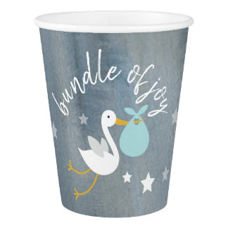 Stork Blue Bundle Stars Watercolor Baby Shower Paper Cup