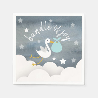 Stork Blue Bundle Stars Watercolor Baby Shower Paper Napkins