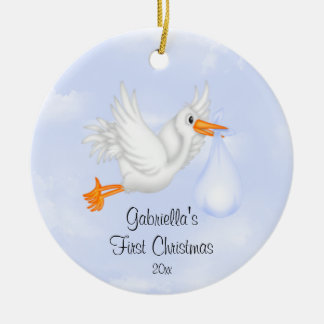 Stork Boy Baby's First Christmas Ornament