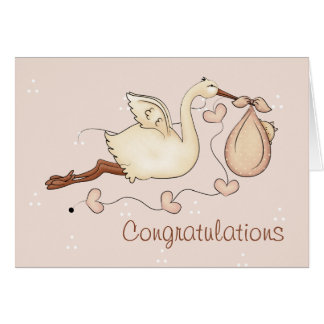 Stork Carrying New Baby Girl Greeting Card