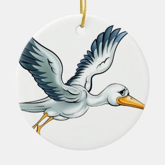 Stork Cartoon Bird Ceramic Ornament