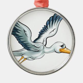 Stork Cartoon Bird Metal Ornament