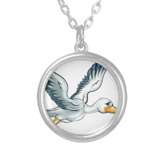 Stork Cartoon Bird Silver Plated Necklace
