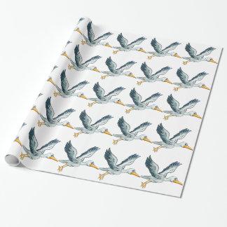 Stork Cartoon Bird Wrapping Paper