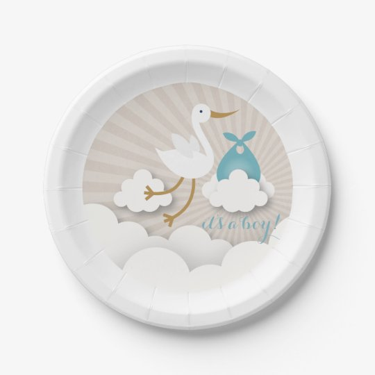 Stork + Clouds With Blue Bundle Boy Baby Shower 7 Inch Paper Plate