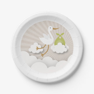 Stork + Clouds With Green Bundle Baby Shower Paper Plate