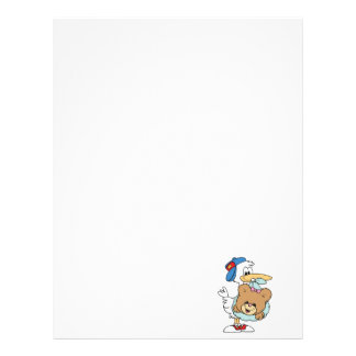 stork delivering baby girl teddy bear letterhead