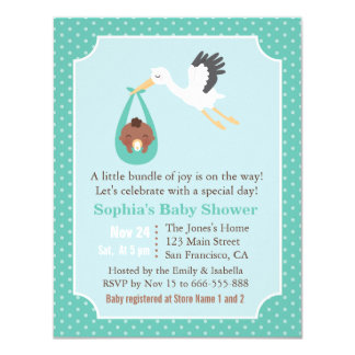 Stork Delivers African American Baby Boy Shower Card