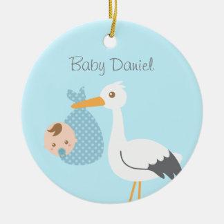 Stork Delivers Cute Baby Boy Nursery Room Decor Ceramic Ornament