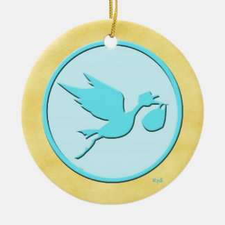 Stork Delivery Baby s 1st Christmas Blue Christmas Tree Ornament
