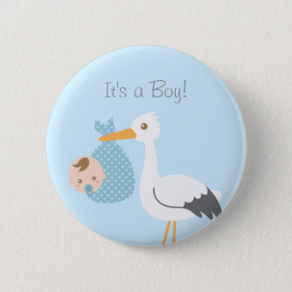Stork Delivery Cute Baby Boy Shower Party Favor 2 Inch Round Button
