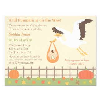 Stork Delivery Lil Pumpkin Baby Shower Invitations