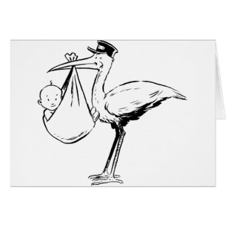 Stork Holding A Baby Greeting Cards