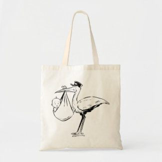 Stork Holding A Baby Tote Bag