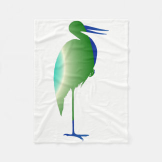 Stork in Blue and Green Fleece Blanket