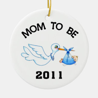 Stork Mom to Be Boys Ceramic Ornament