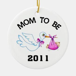 Stork Mom to Be Ceramic Ornament