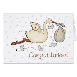 Stork New Baby Boy Greeting Card