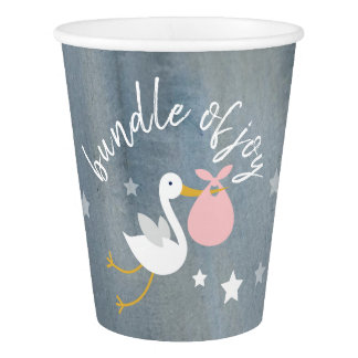 Stork Pink Bundle Stars Watercolor Baby Shower Paper Cup