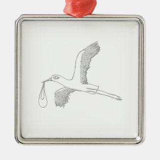 stork Silver-Colored square ornament