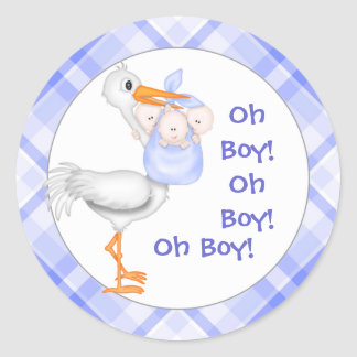 Stork & Triplet Boys Baby Announcement Round Sticker