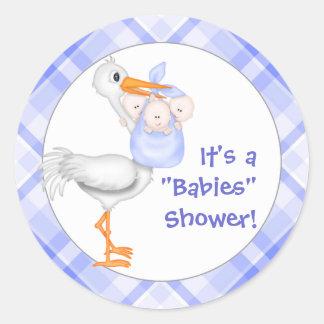 Stork & Triplet Boys Baby Shower Classic Round Sticker