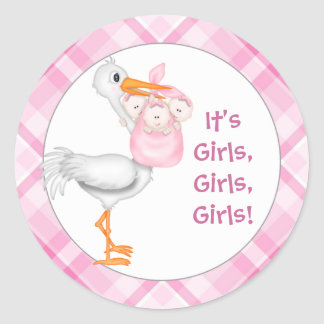 Stork & Triplet Girls Baby Announcement Classic Round Sticker