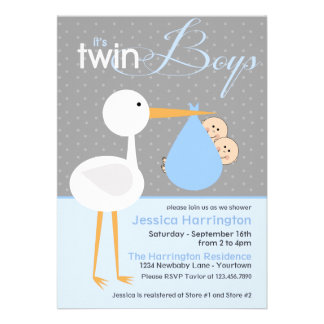 Stork Twin Blue Bundle Baby Shower Invitations