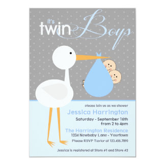"Stork Twin Blue Bundle Baby Shower Invitations 5"" X 7"" Invitation Card"
