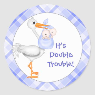 Stork & Twin Boys Baby Announcement Classic Round Sticker