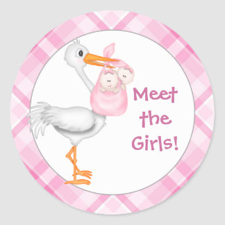 Stork & Twin Girls Baby Announcement Round Sticker