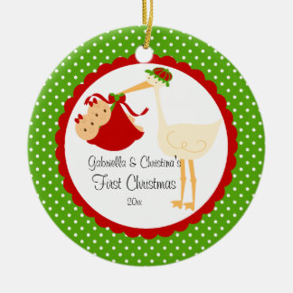 Stork Twin Girls Baby's First Christmas Ornament