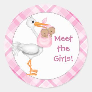 Stork & Twin Girls (dark skin) Baby Announcement Classic Round Sticker