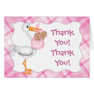 Stork & Twin Girls (dark skin) Thank You Card