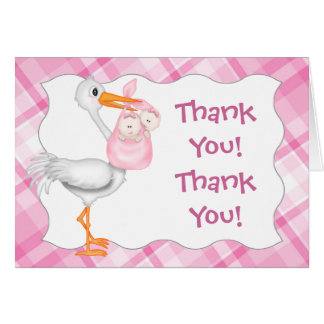 Stork & Twin Girls Thank You Card