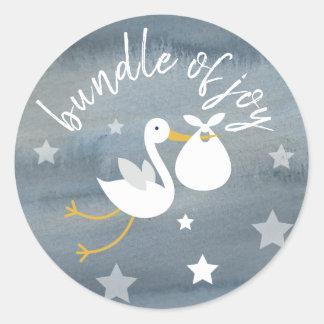 Stork White Bundle Stars Watercolor Baby Shower Classic Round Sticker