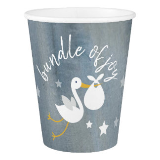 Stork White Bundle Stars Watercolor Baby Shower Paper Cup