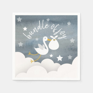 Stork White Bundle Stars Watercolor Baby Shower Paper Napkin