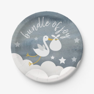 Stork White Bundle Stars Watercolor Baby Shower Paper Plate