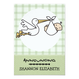 Stork with A Baby Birth Announcements