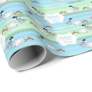 Stork with a Cute Little Baby Boy Wrapping Paper