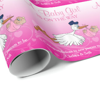 Stork with a Cute Little Baby Girl Wrapping Paper