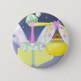 Stork with African American Baby 2 Inch Round Button