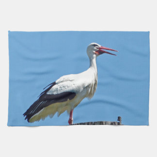 Stork with blue sky (Storch) Kitchen Towels