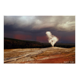 Storm at Old Faithful Poster