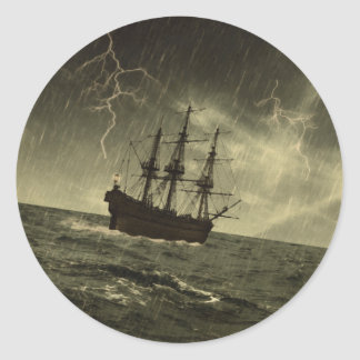 Storm at Sea Classic Round Sticker