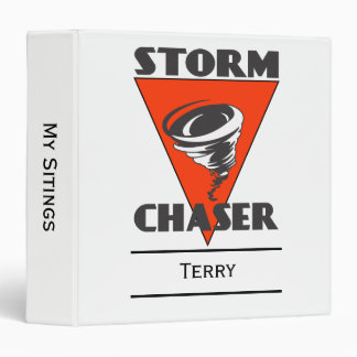 Storm Chaser Tornado and Red Triangle 3 Ring Binder