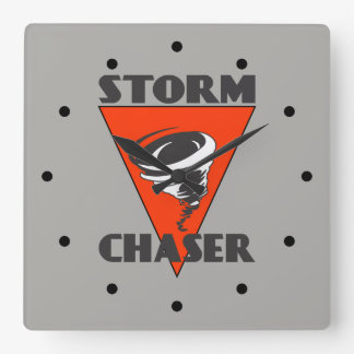 Storm Chaser Tornado and Red Triangle Square Wall Clock