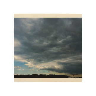 Storm clouds over Lake Michigan Wood Wall Decor