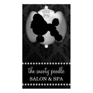 Storm Grey Jeweled Damask Dog Grooming/Spa Business Card